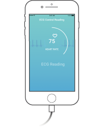 Depiction of starting a 10-second control reading with CardioSecur using your smartphone