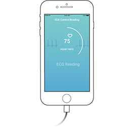 Depiction of starting a 10-second control reading with CardioSecur using your smartphone.